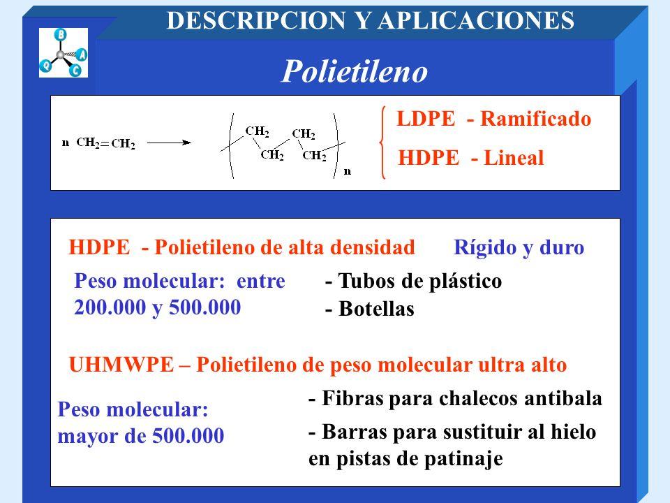 Polietileno DESCRIPCION Y APLICACIONES LDPE - Ramificado HDPE - Polietileno de alta densidad HDPE - Lineal Rígido y duro - Tubos de plástico - Botella