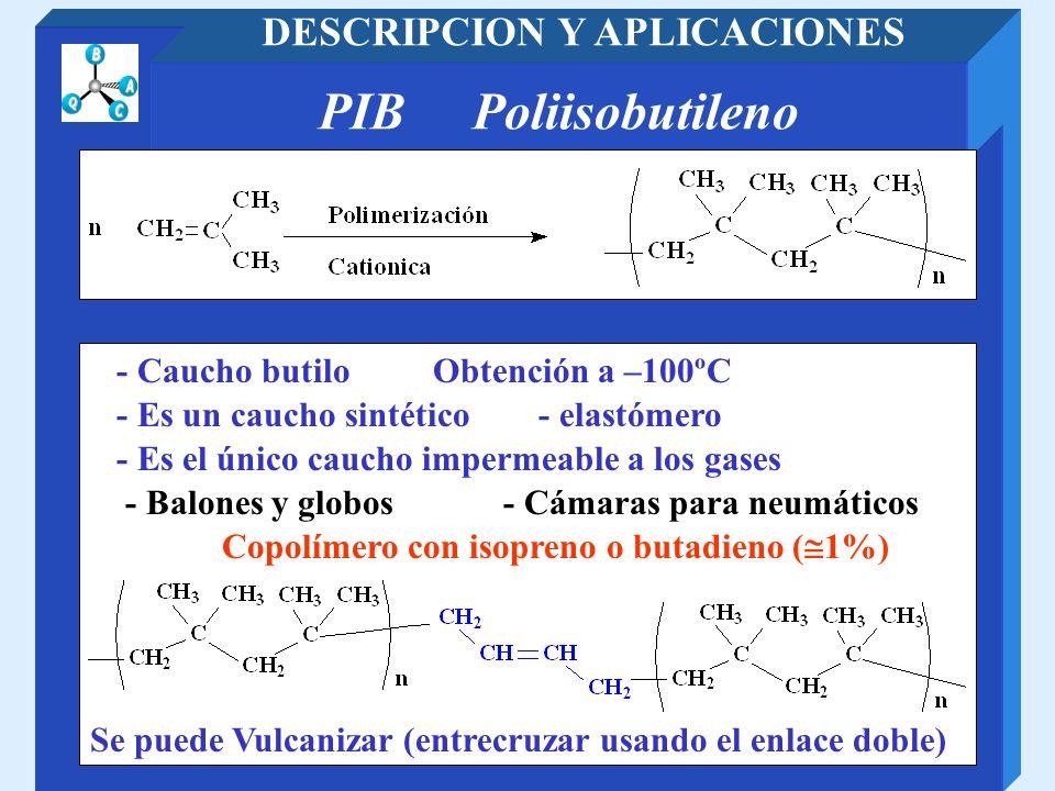 PIB Poliisobutileno DESCRIPCION Y APLICACIONES - Cámaras para neumáticos- Balones y globos - Es un caucho sintético - elastómero Se puede Vulcanizar (
