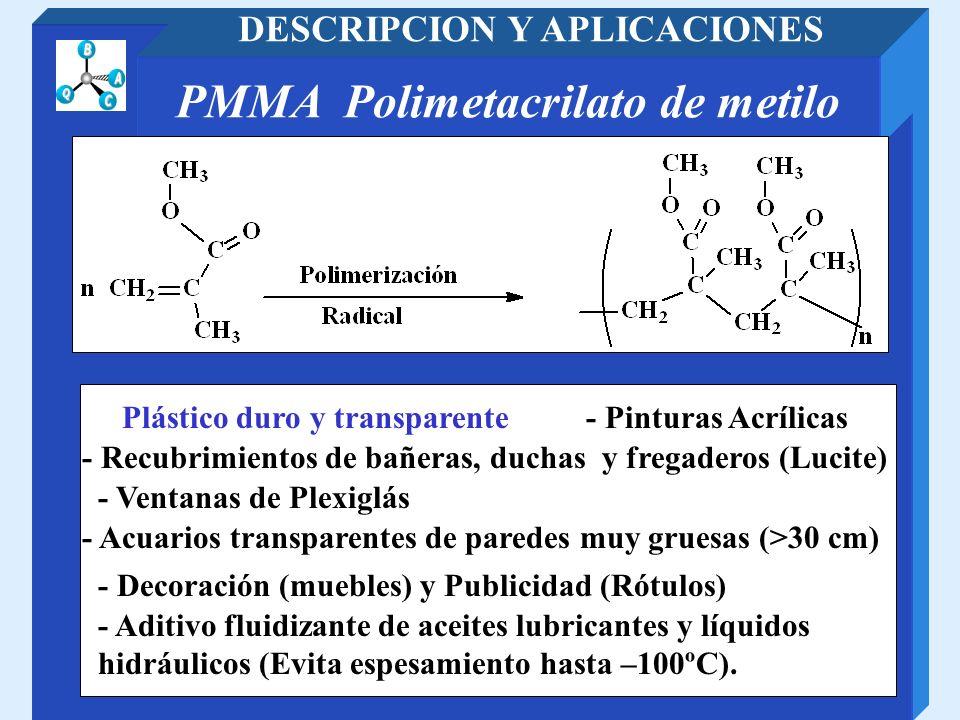 PMMA Polimetacrilato de metilo DESCRIPCION Y APLICACIONES - Recubrimientos de bañeras, duchas y fregaderos (Lucite) - Pinturas Acrílicas - Acuarios tr