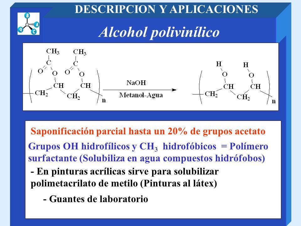 Alcohol polivinílico DESCRIPCION Y APLICACIONES - Guantes de laboratorio Grupos OH hidrofílicos y CH 3 hidrofóbicos = Polímero surfactante (Solubiliza