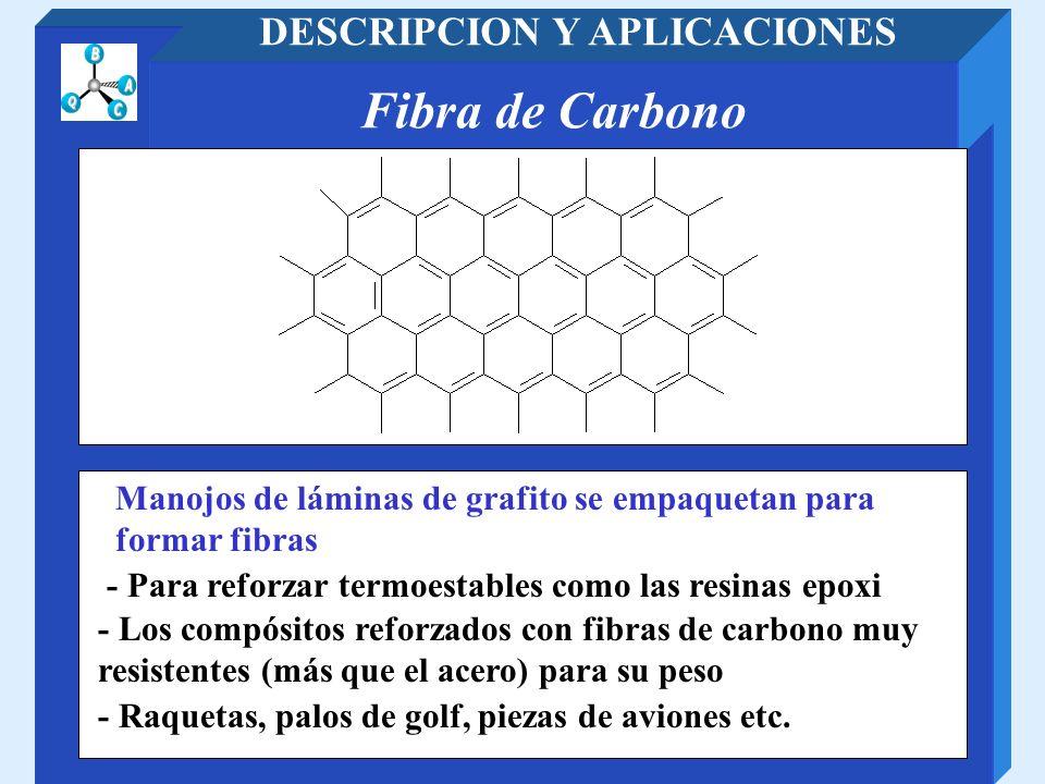 Fibra de Carbono DESCRIPCION Y APLICACIONES - Para reforzar termoestables como las resinas epoxi Manojos de láminas de grafito se empaquetan para form
