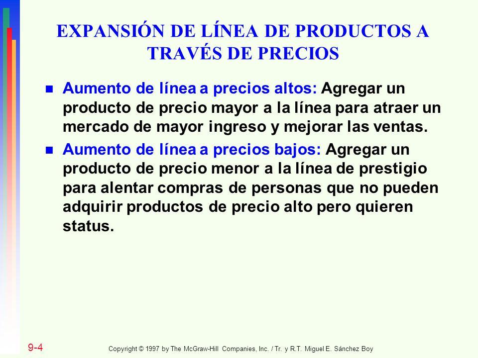 EXPANSIÓN DE LÍNEA DE PRODUCTOS A TRAVÉS DE PRECIOS n Aumento de línea a precios altos: Agregar un producto de precio mayor a la línea para atraer un
