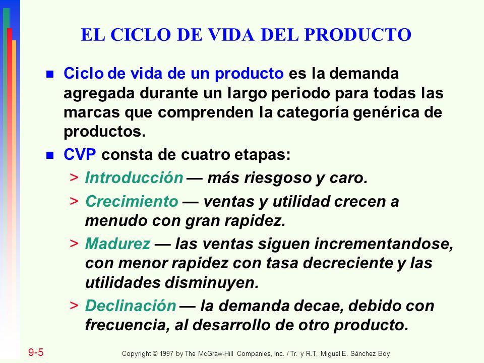 EL CICLO DE VIDA DEL PRODUCTO n Ciclo de vida de un producto es la demanda agregada durante un largo periodo para todas las marcas que comprenden la c