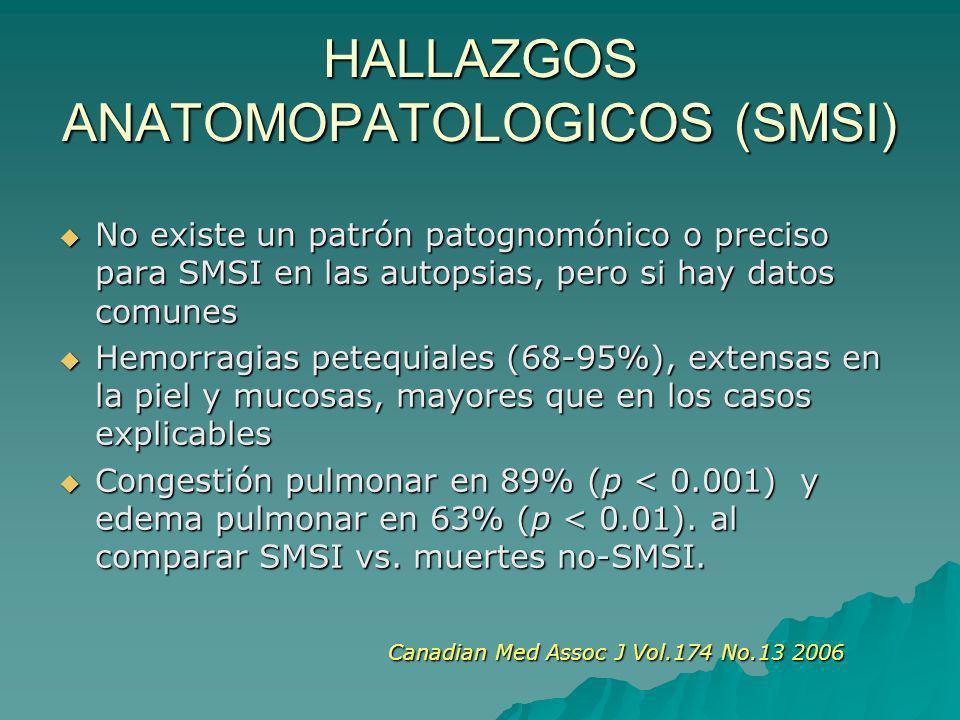HALLAZGOS ANATOMOPATOLOGICOS (SMSI) No existe un patrón patognomónico o preciso para SMSI en las autopsias, pero si hay datos comunes No existe un patrón patognomónico o preciso para SMSI en las autopsias, pero si hay datos comunes Hemorragias petequiales (68-95%), extensas en la piel y mucosas, mayores que en los casos explicables Hemorragias petequiales (68-95%), extensas en la piel y mucosas, mayores que en los casos explicables Congestión pulmonar en 89% (p < 0.001) y edema pulmonar en 63% (p < 0.01).