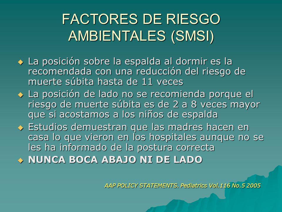 FACTORES DE RIESGO AMBIENTALES (SMSI) La posición sobre la espalda al dormir es la recomendada con una reducción del riesgo de muerte súbita hasta de