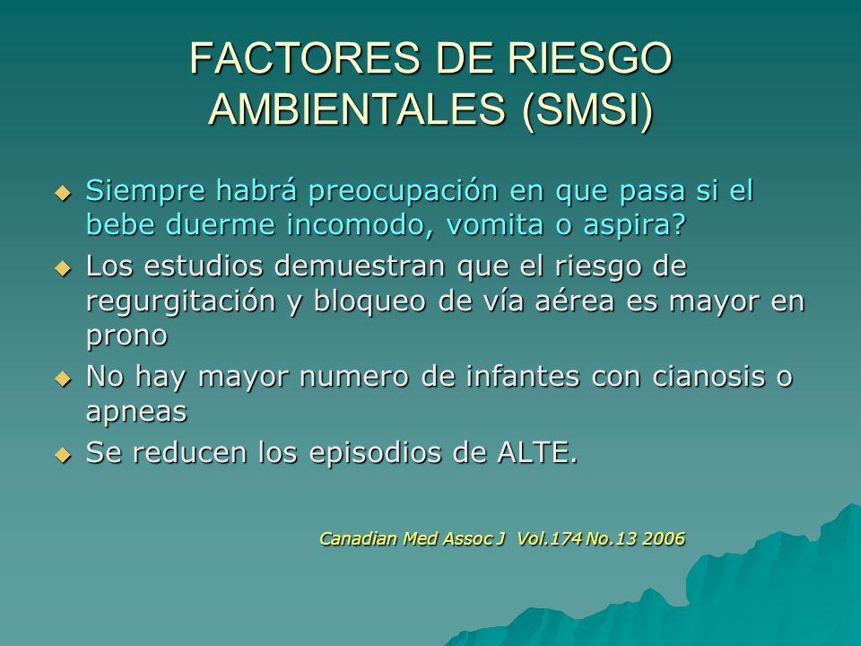 FACTORES DE RIESGO AMBIENTALES (SMSI) Siempre habrá preocupación en que pasa si el bebe duerme incomodo, vomita o aspira? Siempre habrá preocupación e