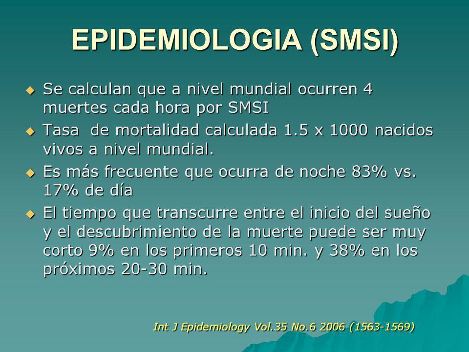 EPIDEMIOLOGIA (SMSI) Se calculan que a nivel mundial ocurren 4 muertes cada hora por SMSI Se calculan que a nivel mundial ocurren 4 muertes cada hora