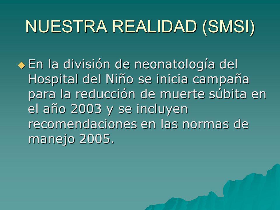 NUESTRA REALIDAD (SMSI) En la división de neonatología del Hospital del Niño se inicia campaña para la reducción de muerte súbita en el año 2003 y se incluyen recomendaciones en las normas de manejo 2005.