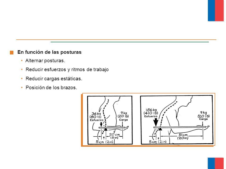 Alternar posturas. Reducir esfuerzos y ritmos de trabajo Reducir cargas estáticas. Posición de los brazos. En función de las posturas Módulo Ergonomía