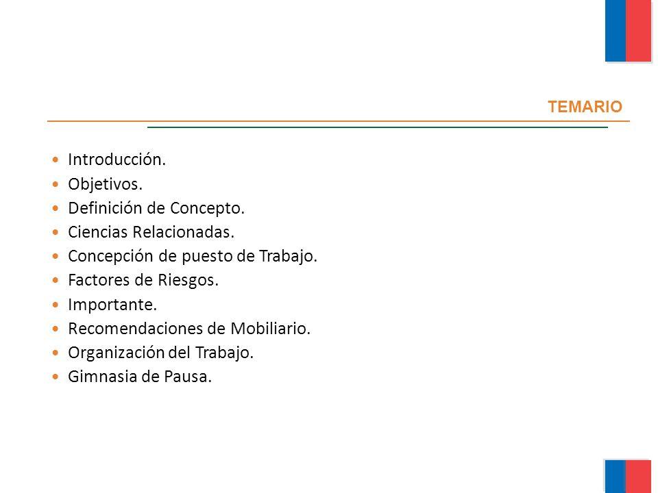 TEMARIO Introducción. Objetivos. Definición de Concepto. Ciencias Relacionadas. Concepción de puesto de Trabajo. Factores de Riesgos. Importante. Reco