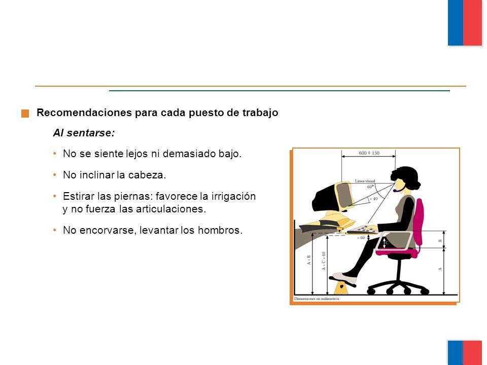 Recomendaciones para cada puesto de trabajo Al sentarse: No se siente lejos ni demasiado bajo. No inclinar la cabeza. Estirar las piernas: favorece la