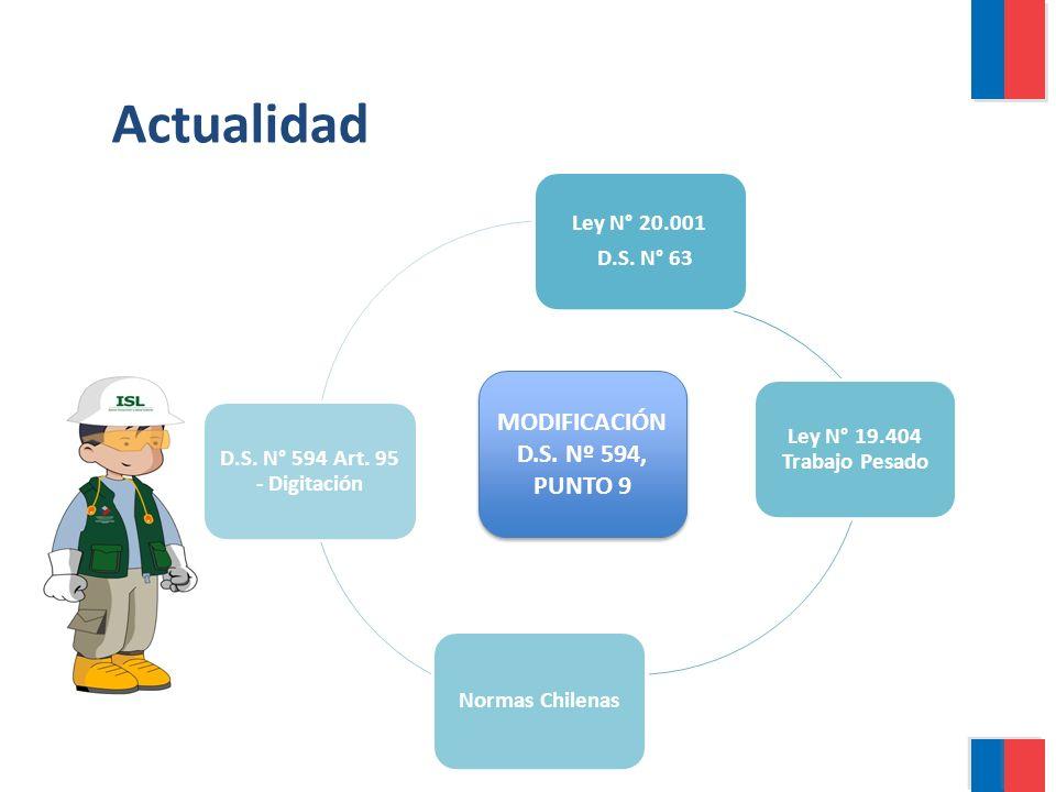 Actualidad Ley N° 20.001 D.S. N° 63 Ley N° 19.404 Trabajo Pesado Normas Chilenas D.S. N° 594 Art. 95 - Digitación MODIFICACIÓN D.S. Nº 594, PUNTO 9