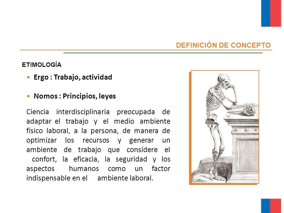 Ergo : Trabajo, actividad Nomos : Principios, leyes ETIMOLOGÍA DEFINICIÓN DE CONCEPTO Ciencia interdisciplinaria preocupada de adaptar el trabajo y el