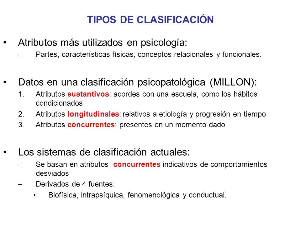 TIPOS DE CLASIFICACIÓN Atributos más utilizados en psicología: –Partes, características físicas, conceptos relacionales y funcionales. Datos en una cl