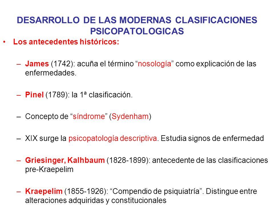DESARROLLO DE LAS MODERNAS CLASIFICACIONES PSICOPATOLOGICAS Los antecedentes históricos: –James (1742): acuña el término nosología como explicación de