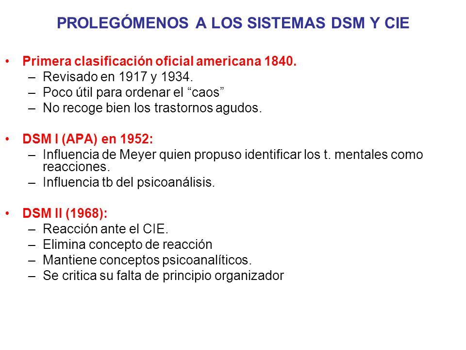 Primera clasificación oficial americana 1840. –Revisado en 1917 y 1934. –Poco útil para ordenar el caos –No recoge bien los trastornos agudos. DSM I (