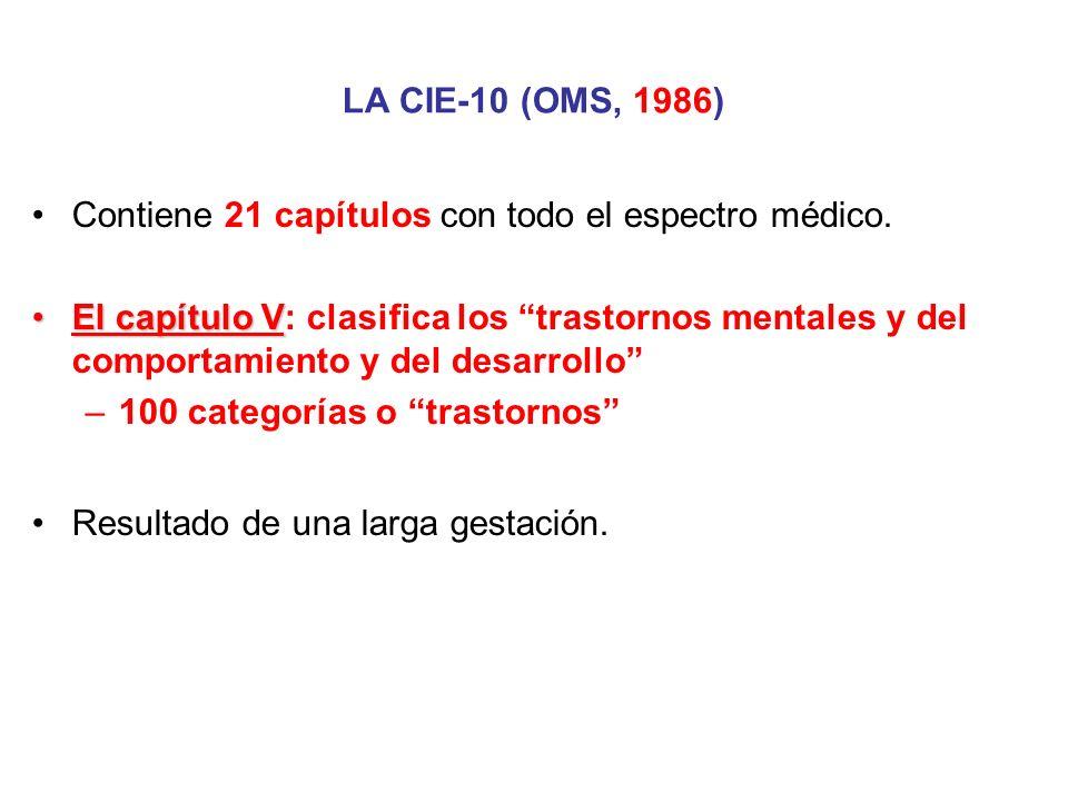 LA CIE-10 (OMS, 1986) Contiene 21 capítulos con todo el espectro médico. El capítulo VEl capítulo V: clasifica los trastornos mentales y del comportam