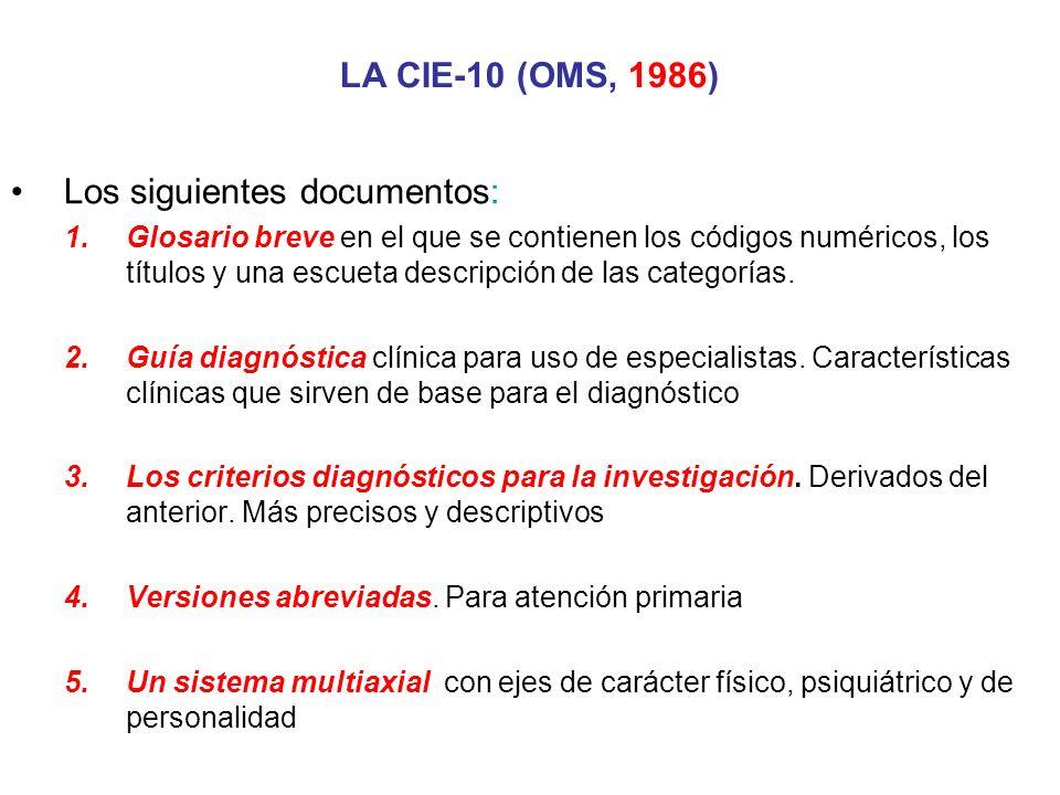 Los siguientes documentos: 1.Glosario breve en el que se contienen los códigos numéricos, los títulos y una escueta descripción de las categorías. 2.G