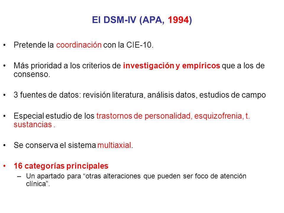 Pretende la coordinación con la CIE-10. Más prioridad a los criterios de investigación y empíricos que a los de consenso. 3 fuentes de datos: revisión