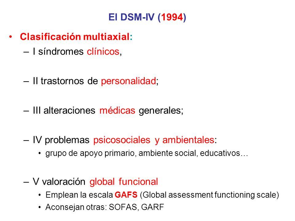El DSM-IV (1994) Clasificación multiaxial: –I síndromes clínicos, –II trastornos de personalidad; –III alteraciones médicas generales; –IV problemas p