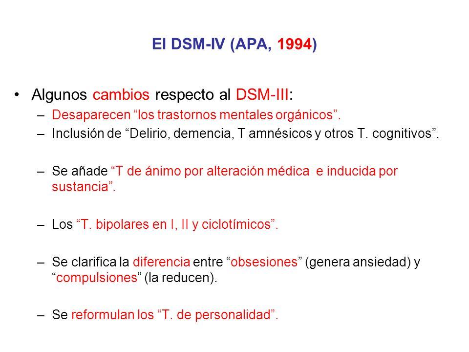 Algunos cambios respecto al DSM-III: –Desaparecen los trastornos mentales orgánicos. –Inclusión de Delirio, demencia, T amnésicos y otros T. cognitivo
