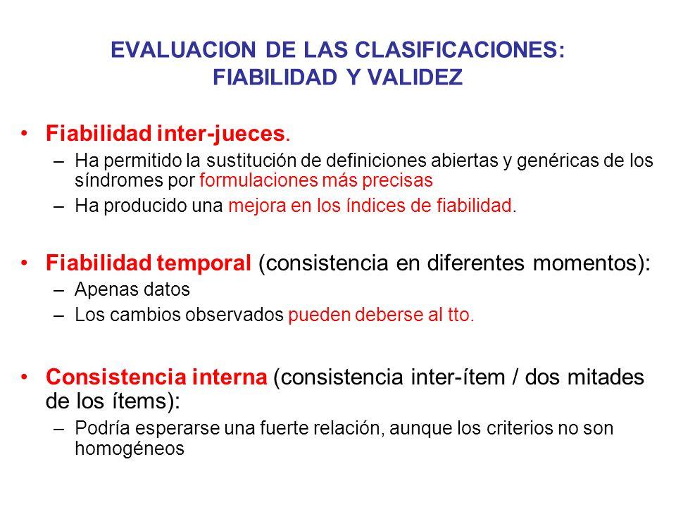 EVALUACION DE LAS CLASIFICACIONES: FIABILIDAD Y VALIDEZ Fiabilidad inter-jueces. –Ha permitido la sustitución de definiciones abiertas y genéricas de