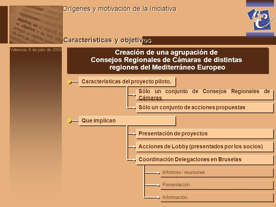 Valencia, 6 de julio de 2005 Características y objetivos Orígenes y motivación de la Iniciativa Creación de una agrupación de Consejos Regionales de Cámaras de distintas regiones del Mediterráneo Europeo Creación de una agrupación de Consejos Regionales de Cámaras de distintas regiones del Mediterráneo Europeo Características del proyecto piloto.