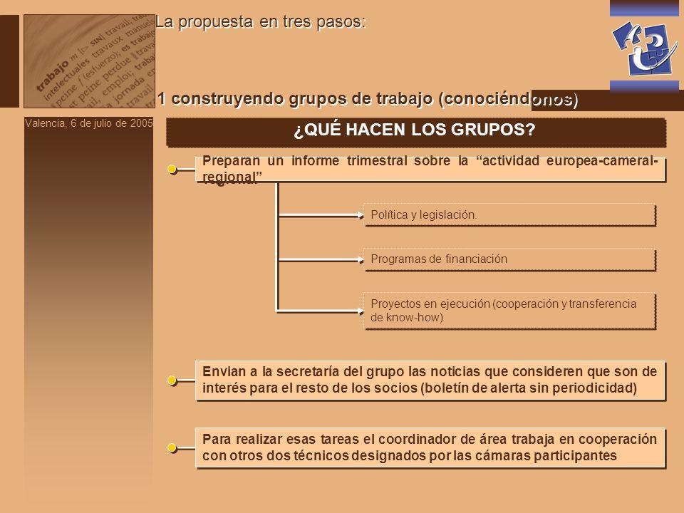 Valencia, 6 de julio de 2005 La propuesta en tres pasos: 1 construyendo grupos de trabajo (conociéndonos) ¿QUÉ HACEN LOS GRUPOS.