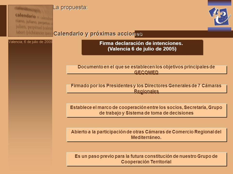Valencia, 6 de julio de 2005 La propuesta: Calendario y próximas acciones Firma declaración de intenciones.
