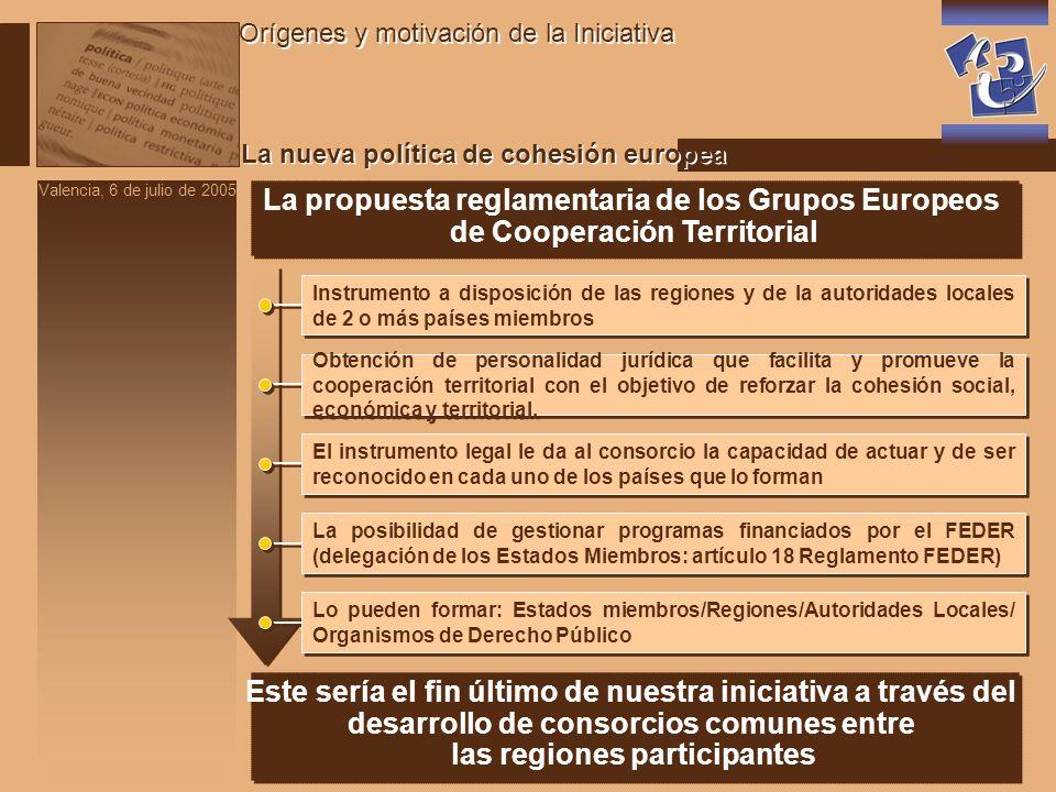 Valencia, 6 de julio de 2005 Estrategia europea y nuevo diseño de la política de cohesión Orígenes y motivación de la Iniciativa La estrategia que se intuye en el nuevo diseño es que se va a intensificar la ayuda estructural y del FSE allí donde se demuestre que se persiguen los siguientes objetivos: La estrategia que se intuye en el nuevo diseño es que se va a intensificar la ayuda estructural y del FSE allí donde se demuestre que se persiguen los siguientes objetivos: Estrategia de Lisboa Estrategia Europea de Empleo Espacio Europeo de la Investigación (6º y 7º PM de I+D+I) Otros sub-objetivos de gran interés para las Cámaras son: Fomento del espíritu empresarial y del uso de las nuevas tecnologías Desarrollo de la Sociedad de la Información ECONOMÍA BASADA EN EL CONOCIMIENTO