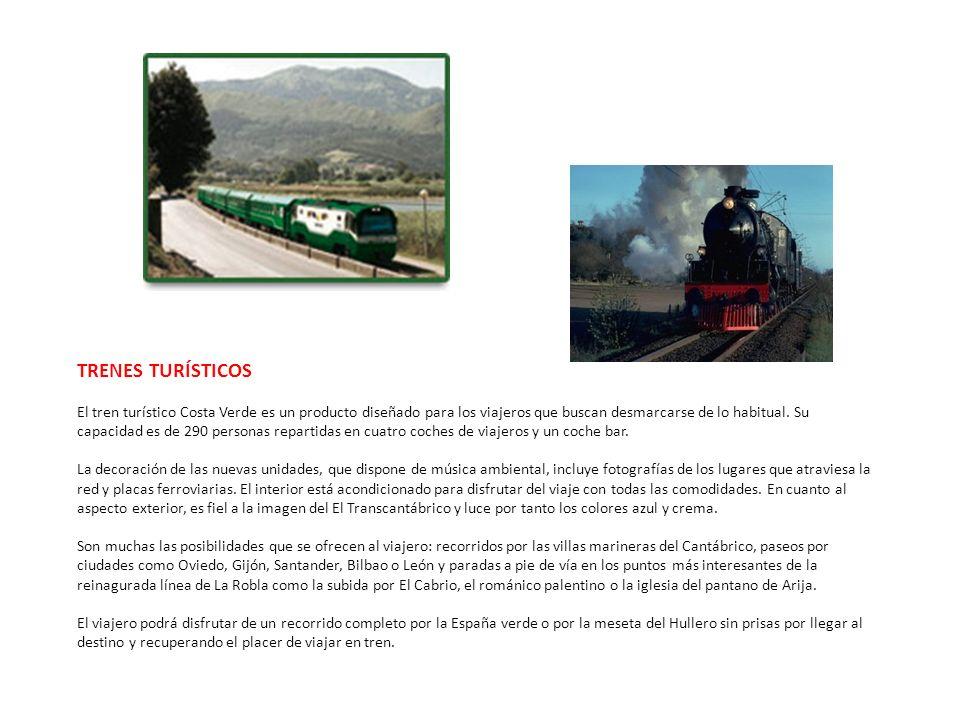 TRENES TURÍSTICOS El tren turístico Costa Verde es un producto diseñado para los viajeros que buscan desmarcarse de lo habitual. Su capacidad es de 29