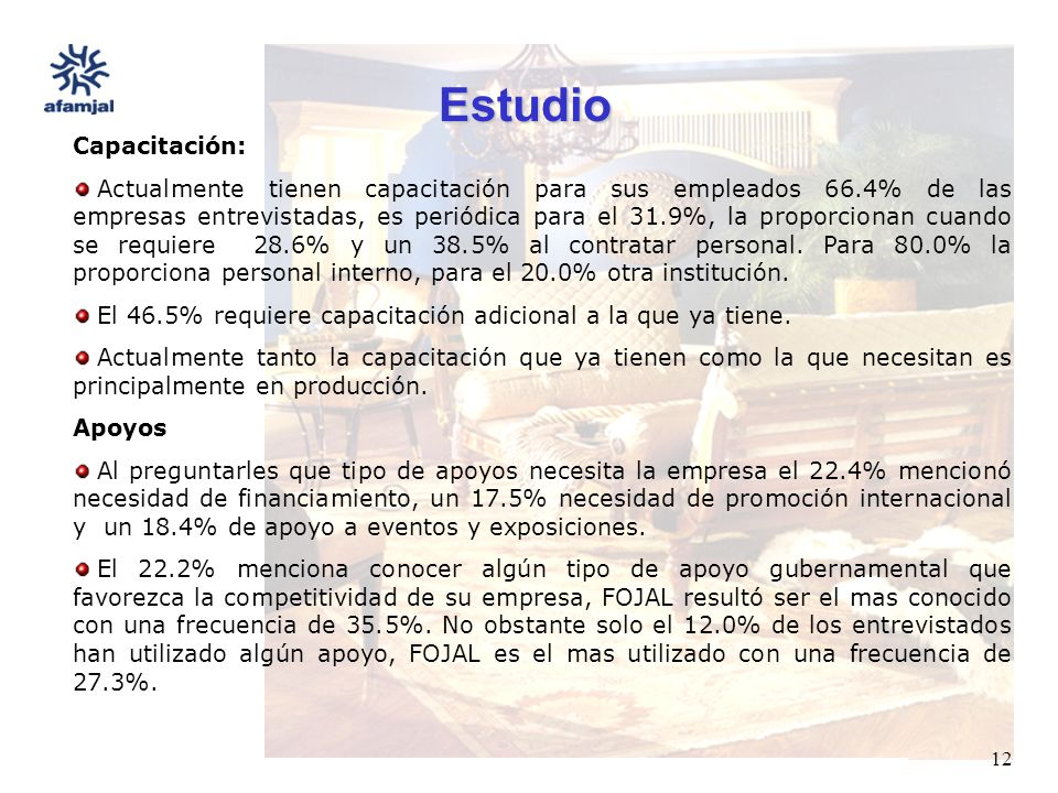 FUENTE : SEIJAL - AFAMJAL, en base a investigación directa. 12 Estudio Capacitación: Actualmente tienen capacitación para sus empleados 66.4% de las e
