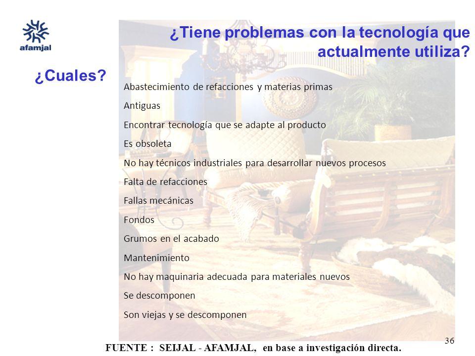FUENTE : SEIJAL - AFAMJAL, en base a investigación directa. 36 ¿Tiene problemas con la tecnología que actualmente utiliza? ¿Cuales? Abastecimiento de