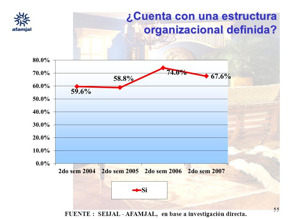 FUENTE : SEIJAL - AFAMJAL, en base a investigación directa. 55 ¿Cuenta con una estructura organizacional definida?