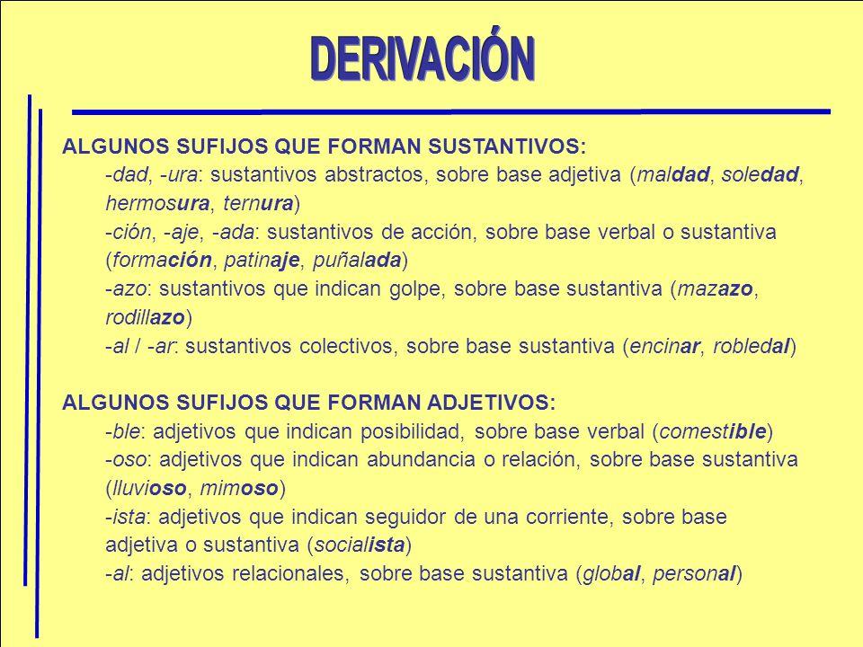 ALGUNOS SUFIJOS QUE FORMAN SUSTANTIVOS: -dad, -ura: sustantivos abstractos, sobre base adjetiva (maldad, soledad, hermosura, ternura) -ción, -aje, -ad