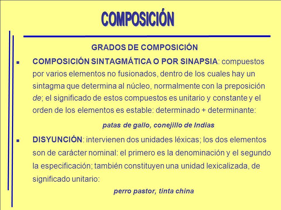 GRADOS DE COMPOSICIÓN COMPOSICIÓN SINTAGMÁTICA O POR SINAPSIA: compuestos por varios elementos no fusionados, dentro de los cuales hay un sintagma que
