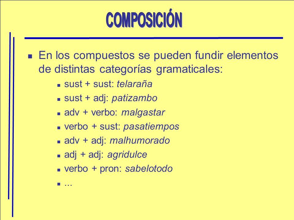 En los compuestos se pueden fundir elementos de distintas categorías gramaticales: sust + sust: telaraña sust + adj: patizambo adv + verbo: malgastar