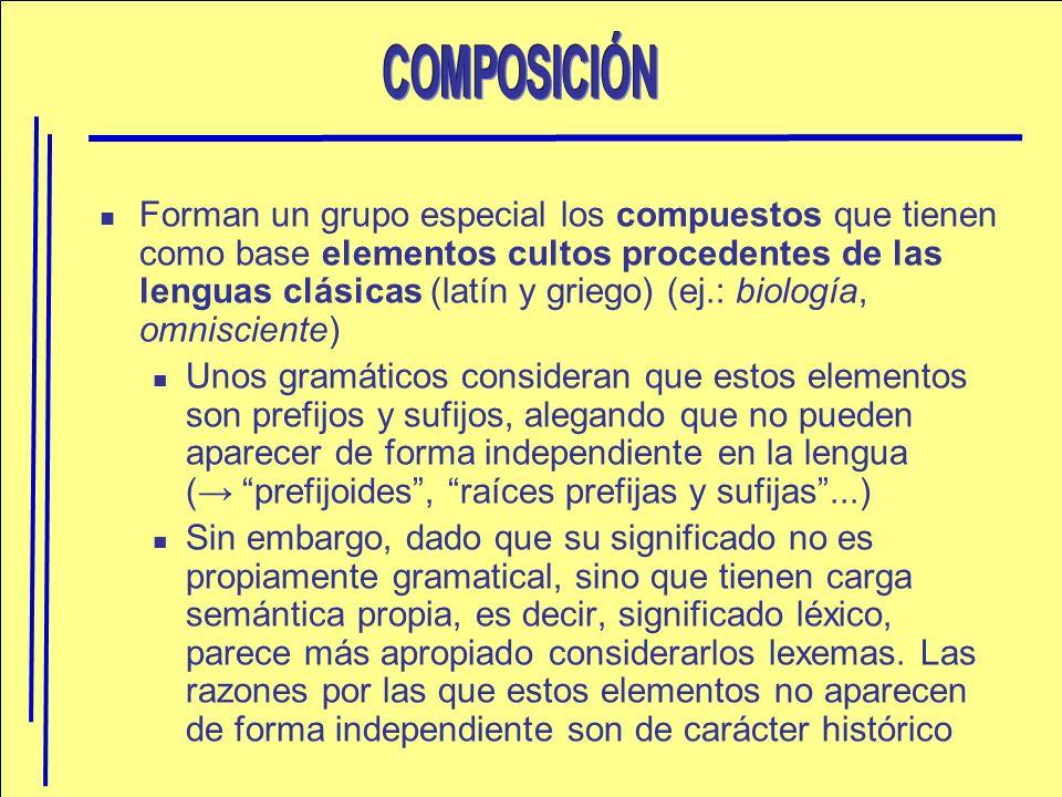 Forman un grupo especial los compuestos que tienen como base elementos cultos procedentes de las lenguas clásicas (latín y griego) (ej.: biología, omn