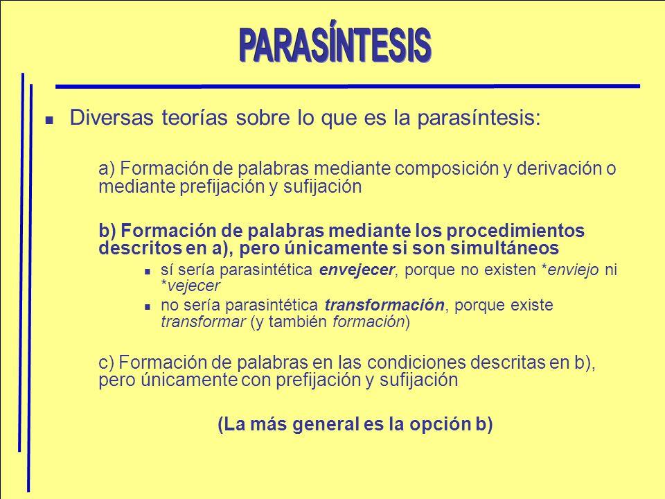 Diversas teorías sobre lo que es la parasíntesis: a) Formación de palabras mediante composición y derivación o mediante prefijación y sufijación b) Fo