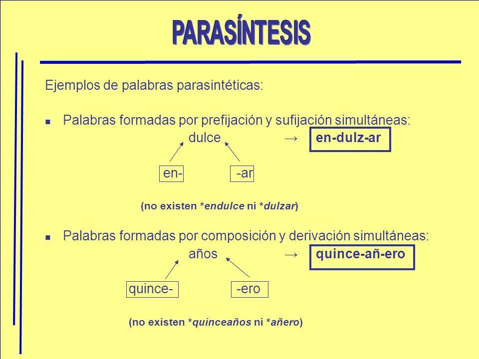 Ejemplos de palabras parasintéticas: Palabras formadas por prefijación y sufijación simultáneas: dulce en-dulz-ar en- -ar (no existen *endulce ni *dul