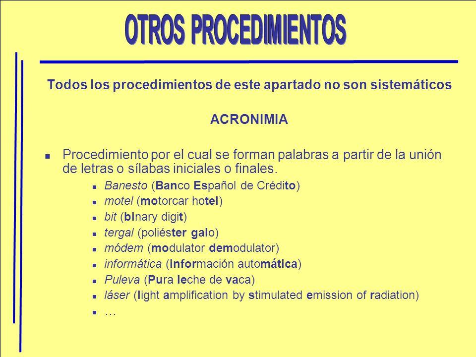 Todos los procedimientos de este apartado no son sistemáticos ACRONIMIA Procedimiento por el cual se forman palabras a partir de la unión de letras o