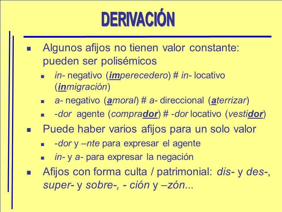 Algunos afijos no tienen valor constante: pueden ser polisémicos in- negativo (imperecedero) # in- locativo (inmigración) a- negativo (amoral) # a- di