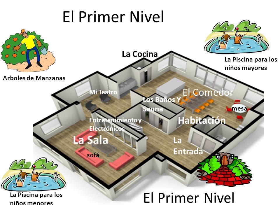 El Primer Nivel La Cocina La Sala El Comedor Entretenimiento y Electrónicos Mi Teatro Los Baños Y Sauna Habitación La Entrada La Piscina para los niño
