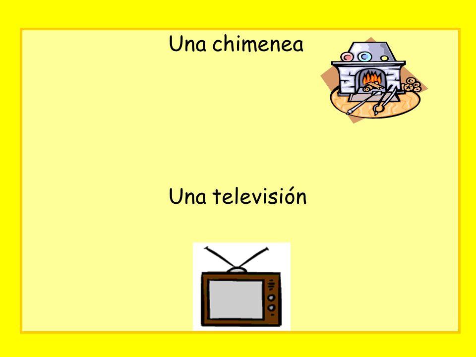 Una chimenea Una televisión