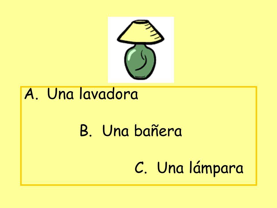 A. Una lavadora B. Una bañera C. Una lámpara
