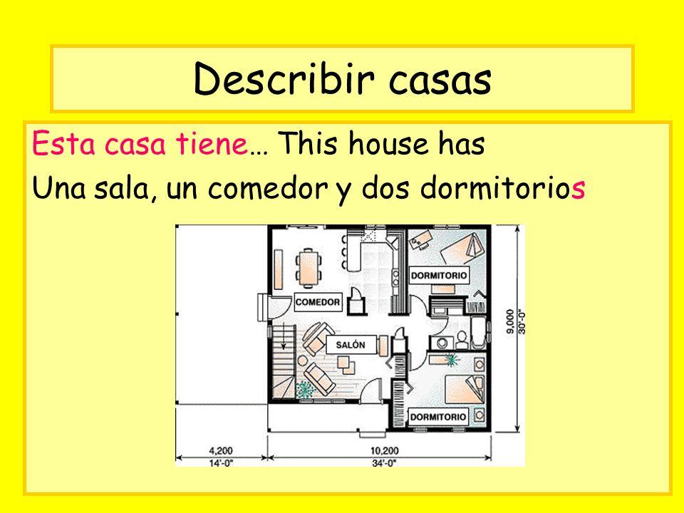 Describir casas Esta casa tiene… This house has Una sala, un comedor y dos dormitorios