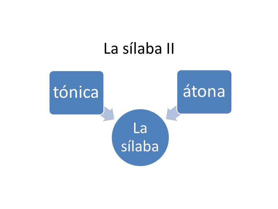 La sílaba tónica.Es aquella en la que recae el mayor grado de intensidad y sonoridad.
