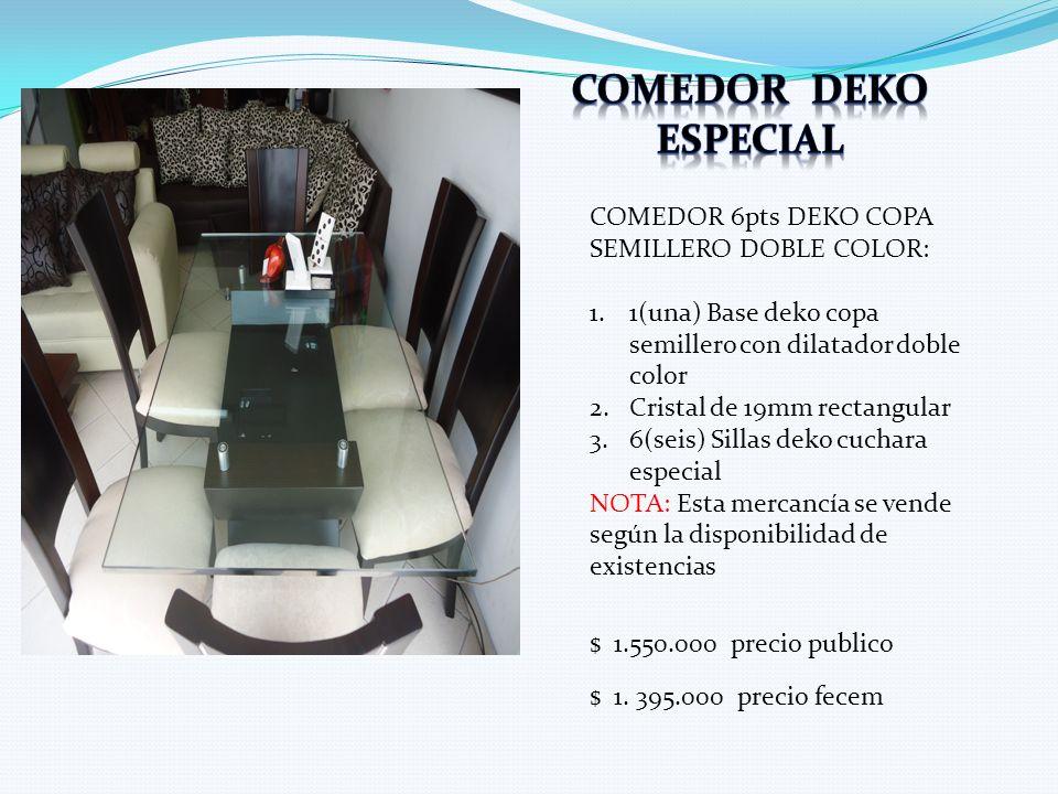 COMEDOR 6pts DEKO COPA SEMILLERO DOBLE COLOR: 1.1(una) Base deko copa semillero con dilatador doble color 2.Cristal de 19mm rectangular 3.6(seis) Sill