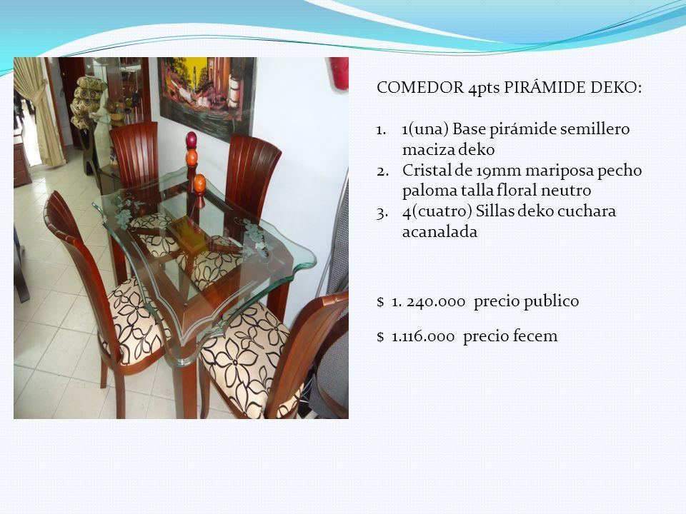 COMEDOR 4pts PIRÁMIDE DEKO: 1.1(una) Base pirámide semillero maciza deko 2.Cristal de 19mm mariposa pecho paloma talla floral neutro 3.4(cuatro) Silla