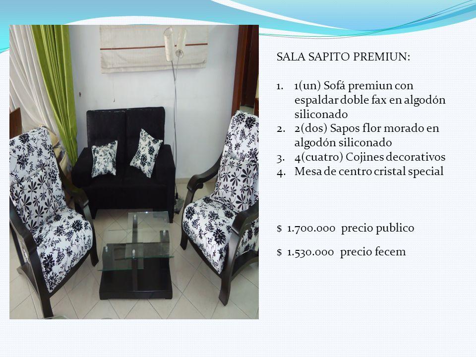 SALA SAPITO PREMIUN: 1.1(un) Sofá premiun con espaldar doble fax en algodón siliconado 2.2(dos) Sapos flor morado en algodón siliconado 3.4(cuatro) Co